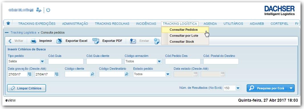 Através desta página será possível pesquisar pedidos de logistica, bastando  que preencha os campos do formulário e que depois clique no botão