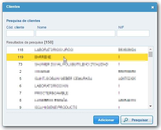 e adicioná-los ao filtro de códigos de cliente da página de consulta de  pedidos clicando no botão